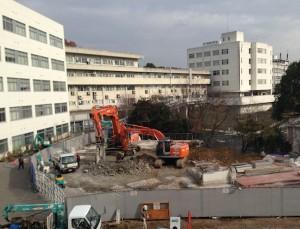 Demolition in Okayama University of Science. Dec./ 2013. Photo by Dr. Shinji MIYAMOTO